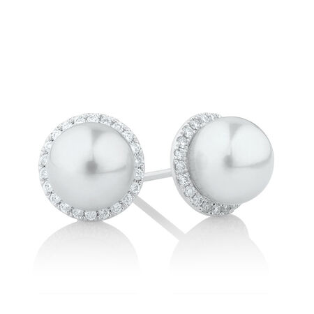 Earrings with 0.26 Carat TW of Diamonds & a Cultured Freshwater Pearl in 10ct White Gold