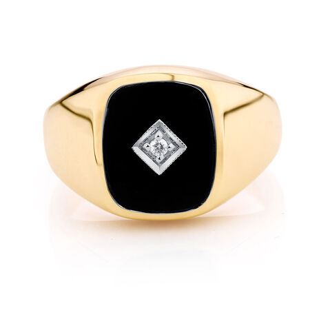 Men's Diamond Set Ring with Black Onyx in 10ct Yellow Gold