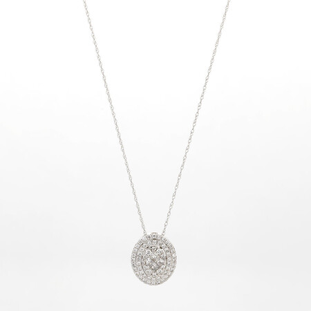 Online Exclusive - Cluster Pendant with 0.60 Carat TW of Diamonds in 14ct White Gold