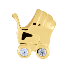 Diamond Set & 10ct Yellow Gold Pram Charm