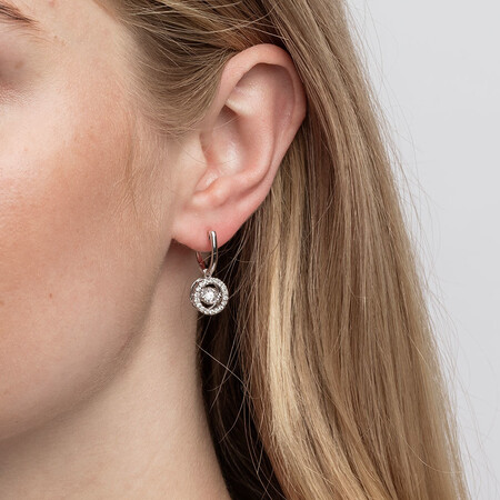 Everlight Drop Earrings with 1 Carat TW of Diamonds in 14ct White Gold