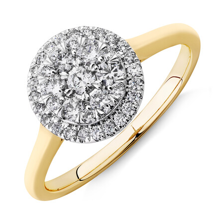 Round Cluster Halo Ring with 0.50ct TW of Diamonds in 10ct Yellow Gold