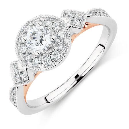 Sir Michael Hill Designer GrandAmoroso Engagement Ring with 0.58 Carat TW of Diamonds in 14ct White & Rose Gold