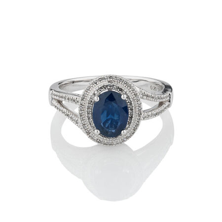Ring with Sapphire & 0.20 Carat TW of Diamonds in 10ct White Gold