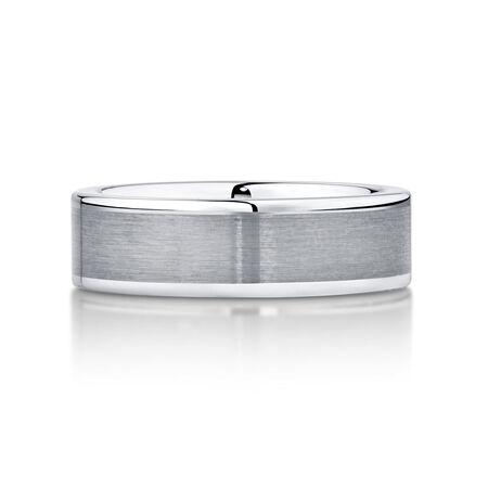 7mm Men's Wedding Band in Grey Tungsten