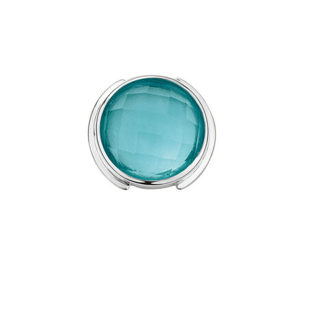 Mini Coin Locket Insert with Teal Glass in Sterling Silver