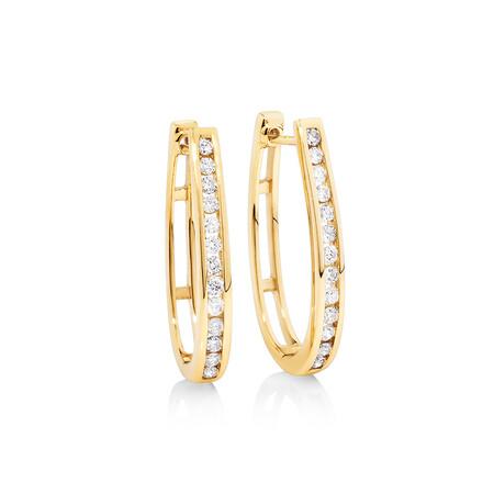 Huggie Earrings 0.50 Carat TW of Diamonds in 10ct Yellow Gold