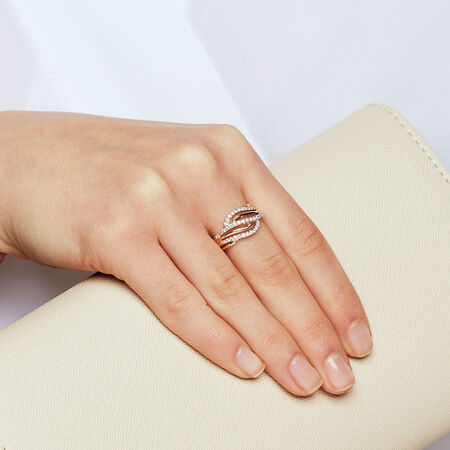 Ring with 0.39 Carat TW of Diamonds in 10ct Yellow Gold