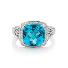 Online Exclusive - Ring with 0.14 Carat TW of Diamonds & Blue Topaz in 10ct White Gold