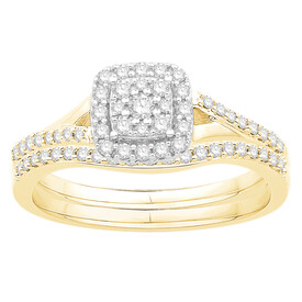 Bridal Set with 0.38 Carat TW of Diamonds in 10ct Yellow & White Gold