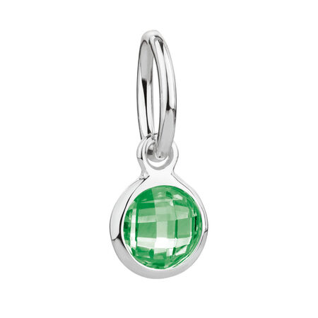 May Mini Pendant with Green Crystal in Sterling Silver