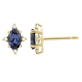 Earrings with Diamond & Created Sapphire in 10ct Yellow Gold