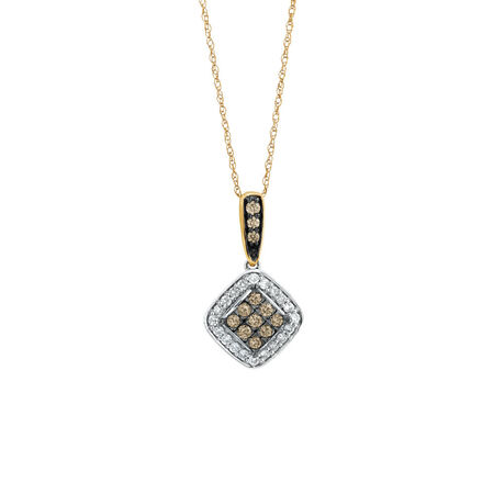 Pendant with 0.39 Carat TW of White & Natural Brown Diamonds in 10ct Rose & White Gold
