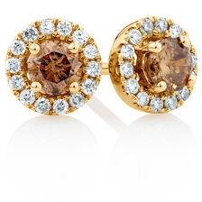 Natural Champagne Stud Earrings with a 1/2 Carat TW of Champagne & White Diamonds in 10ct Yellow Gold