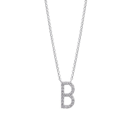 """""""B"""" Initial necklace with 0.10 Carat TW of Diamonds in 10ct White Gold"""