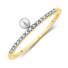 Diamond Set Stacker Ring with a Cultured Freshwater Pearl in 10ct Yellow Gold