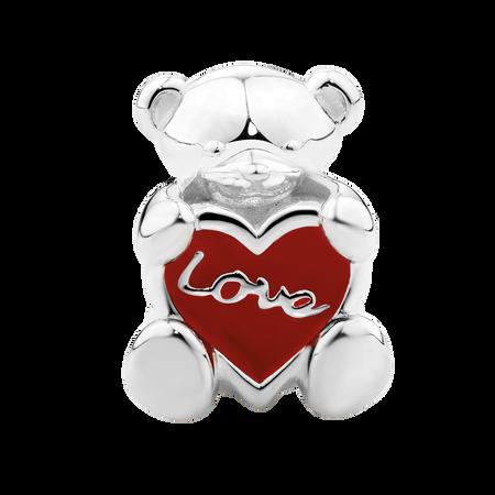 Red Enamel & Sterling Silver Teddy Bear Charm