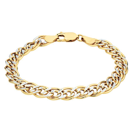 "19cm (7.5"") Belcher Bracelet in 10ct Yellow & White Gold"