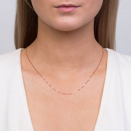 "45cm (18"") Box Chain in 10ct Rose Gold"
