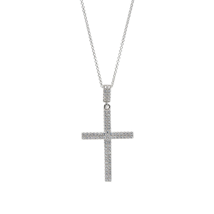 Pave Double Row Cross Pendant with White Cubic Zirconia in Sterling Silver