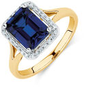 Ring with a Created Sapphire & Diamonds in 10ct Yellow Gold