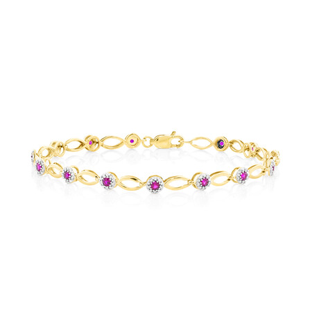 Halo Bracelet With Diamonds And Created Ruby In 10ct Yellow Gold