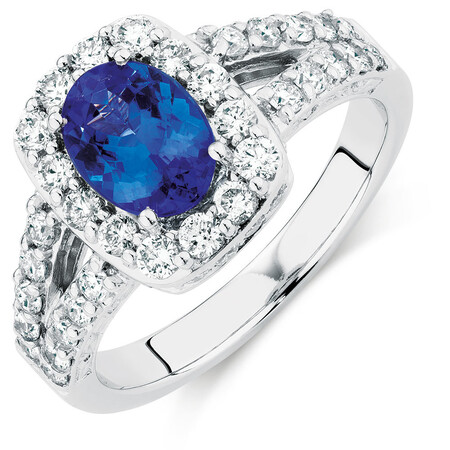 Ring with Tanzanite & 1 Carat TW of Diamonds in 14ct White Gold