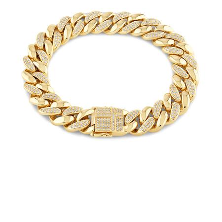 Men'S Bracelet with 2.05 TW of Diamonds In 10ct Yellow Gold