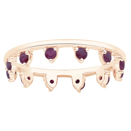 Zipper Ring with Ruby in 10ct Rose Gold