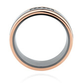 7mm Ring with Black Diamonds in Black Titanium & 10ct Rose Gold