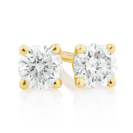 Stud Earrings with 1/4 Carat TW of Diamonds in 10ct Yellow Gold