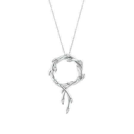 Willow Twist Pendant with Diamonds in Sterling Silver