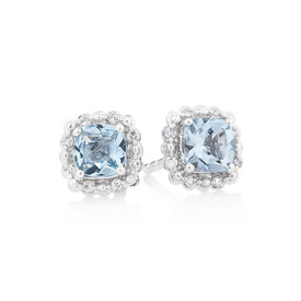 Earrings With Aquamarine & Diamonds In 10ct White Gold