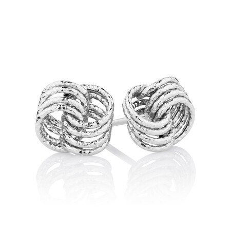 Stud Earrings in 10ct White Gold