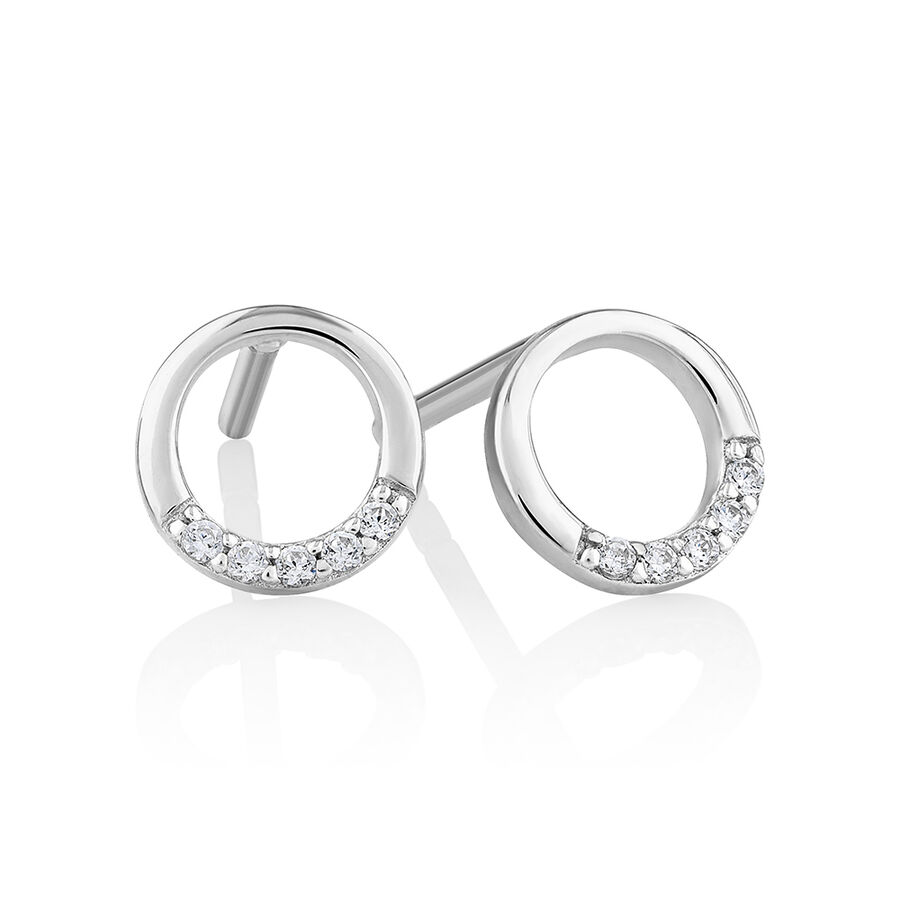Open Circle Stud earrings with Cubic Zirconia in Sterling Silver