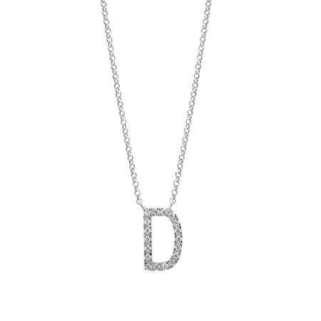 """""""D"""" Initial necklace with 0.10 Carat TW of Diamonds in 10ct White Gold"""