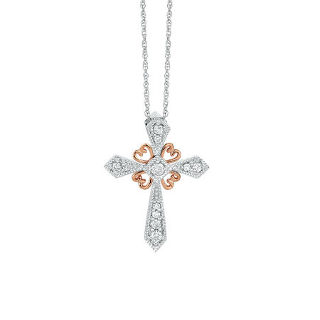 Pendant with 0.15 Carat TW of Diamonds in 10ct White & Rose Gold