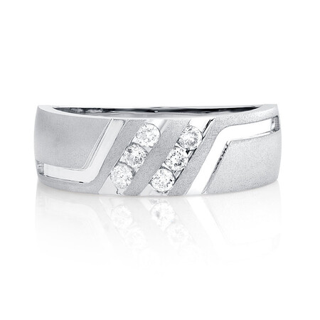Men's Ring with 1/4 Carat TW of Diamonds in 10ct White Gold