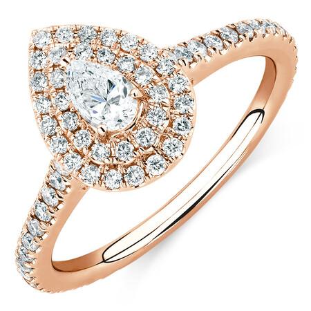 Sir Michael Hill Designer GrandArpeggio Engagement Ring with 0.87 Carat TW of Diamonds in 14ct Rose Gold