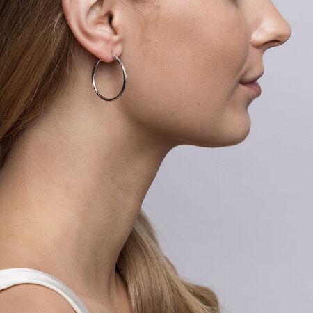 25mm Twist Hoop Earrings in Sterling Silver