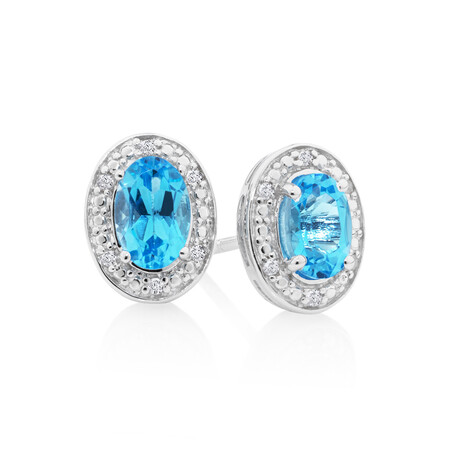 Halo Earrings with Topaz and 0.04 Carat TW of Diamonds in Sterling Silver