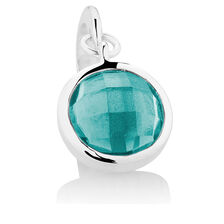 Dangle Charm with Teal Crystal in Sterling Silver