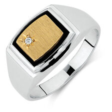 Men's Diamond Set Ring with Black Onyx in 10ct Yellow Gold & Sterling Silver