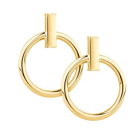 Circle & Bar Earrings in 10ct Yellow Gold
