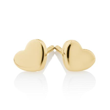 Heart Stud Earrings in 10ct Yellow Gold
