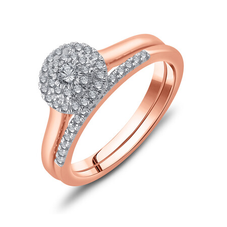Bridal Set with 0.33 Carat TW of Diamonds in 10ct Rose Gold