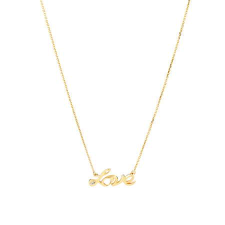 Love Necklace with Diamonds in 10ct Yellow Gold