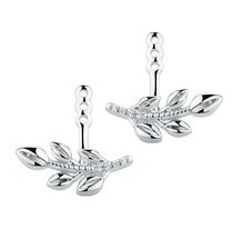 Leaf Earring Enhancers with Cubic Zirconia in Sterling Silver