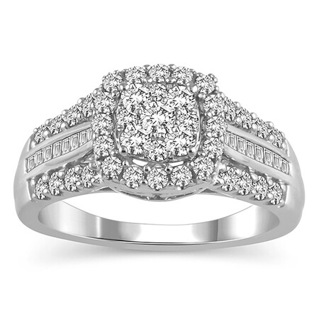 Cluster Ring with 1.00 Carat TW of Diamonds in 10ct White Gold