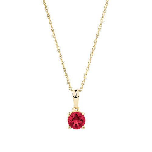 Pendant with Created Ruby in 10ct Yellow Gold